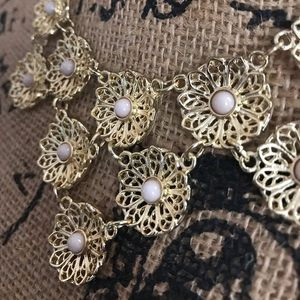New York & Company Gold Floral Bib-style Necklace
